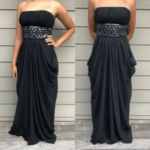 Hailey Adrianna Papell Black Jeweled Formal Dress